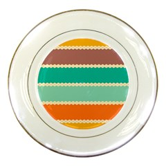 Rhombus and retro colors stripes pattern Porcelain Plate by LalyLauraFLM