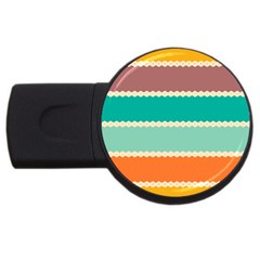 Rhombus And Retro Colors Stripes Pattern Usb Flash Drive Round (4 Gb) by LalyLauraFLM