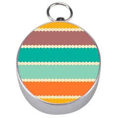 Rhombus And Retro Colors Stripes Pattern Silver Compass by LalyLauraFLM