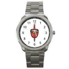 Tongue Cut By Kitchen Knife Photo Collage Sport Metal Watches by dflcprints