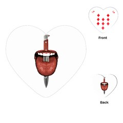 Tongue Cut By Kitchen Knife Photo Collage Playing Cards (heart)