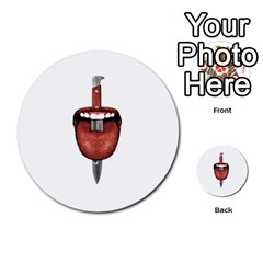 Tongue Cut By Kitchen Knife Photo Collage Multi Purpose Cards (round)