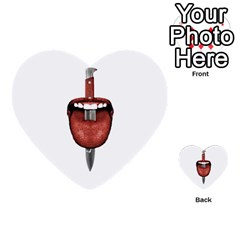 Tongue Cut By Kitchen Knife Photo Collage Multi Purpose Cards (heart)  by dflcprints