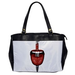 Tongue Cut By Kitchen Knife Photo Collage Office Handbags by dflcprints