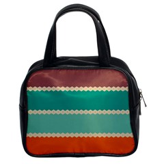 Rhombus And Retro Colors Stripes Pattern Classic Handbag (two Sides)