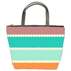 Rhombus And Retro Colors Stripes Pattern 	bucket Bag