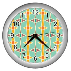 Rhombus Pattern In Retro Colors wall Clock (silver) by LalyLauraFLM