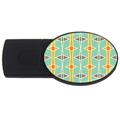 Rhombus Pattern In Retro Colors 			usb Flash Drive Oval (4 Gb) by LalyLauraFLM