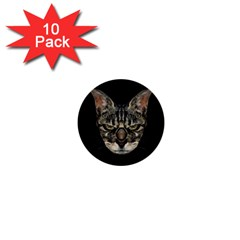 Angry Cyborg Cat 1  Mini Buttons (10 Pack)  by dflcprints