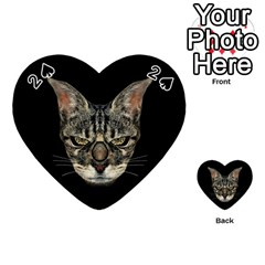 Angry Cyborg Cat Playing Cards 54 (heart)