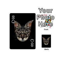Angry Cyborg Cat Playing Cards 54 (mini)  by dflcprints