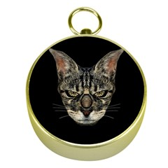 Angry Cyborg Cat Gold Compasses by dflcprints