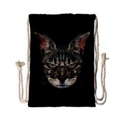 Angry Cyborg Cat Drawstring Bag (small) by dflcprints