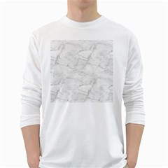 White Marble 2 White Long Sleeve T Shirts