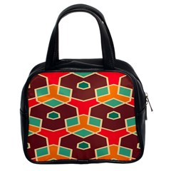 Distorted Shapes In Retro Colors Classic Handbag (two Sides) by LalyLauraFLM