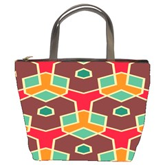 Distorted Shapes In Retro Colors bucket Bag by LalyLauraFLM