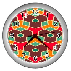 Distorted Shapes In Retro Colorswall Clock (silver) by LalyLauraFLM