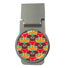Distorted Shapes In Retro Colorsmoney Clip (round) by LalyLauraFLM