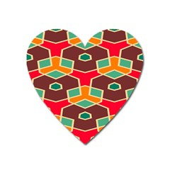 Distorted Shapes In Retro Colors			magnet (heart) by LalyLauraFLM