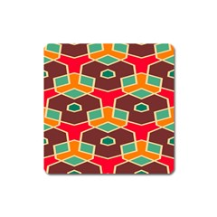 Distorted Shapes In Retro Colorsmagnet (square) by LalyLauraFLM