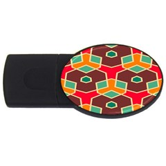 Distorted Shapes In Retro Colorsusb Flash Drive Oval (2 Gb) by LalyLauraFLM
