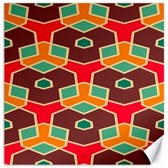 Distorted Shapes In Retro Colorscanvas 12  X 12  by LalyLauraFLM