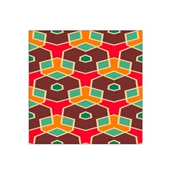 Distorted Shapes In Retro Colors Satin Bandana Scarf by LalyLauraFLM