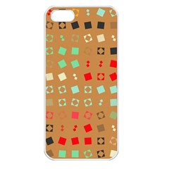 Squares On A Brown Background			apple Iphone 5 Seamless Case (white) by LalyLauraFLM