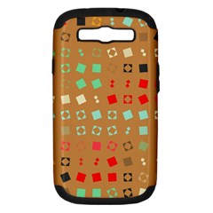 Squares On A Brown Background			samsung Galaxy S Iii Hardshell Case (pc+silicone) by LalyLauraFLM