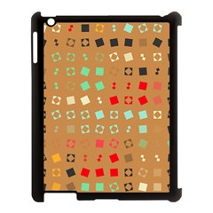 Squares On A Brown Background			apple Ipad 3/4 Case (black) by LalyLauraFLM