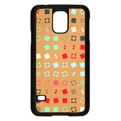 Squares On A Brown Background			samsung Galaxy S5 Case (black) by LalyLauraFLM