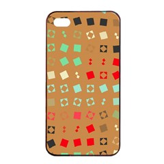 Squares On A Brown Backgroundapple Iphone 4/4s Seamless Case (black) by LalyLauraFLM