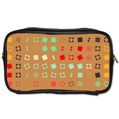 Squares On A Brown Background Toiletries Bag (two Sides) by LalyLauraFLM