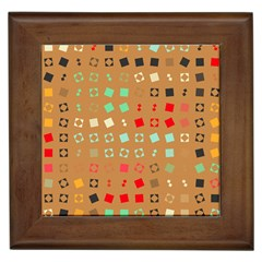 Squares On A Brown Backgroundframed Tile by LalyLauraFLM