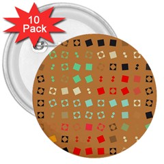 Squares On A Brown Background3  Button (10 Pack) by LalyLauraFLM