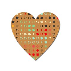 Squares On A Brown Backgroundmagnet (heart) by LalyLauraFLM