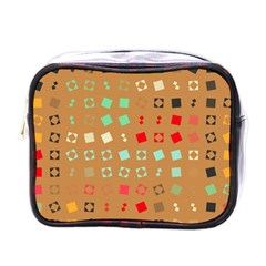 Squares On A Brown Backgroundmini Toiletries Bag (one Side) by LalyLauraFLM