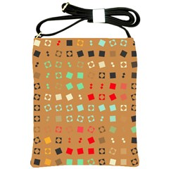 Squares On A Brown Background			shoulder Sling Bag by LalyLauraFLM