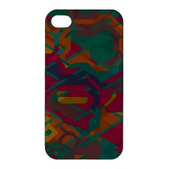 Geometric Shapes In Retro Colors			apple Iphone 4/4s Premium Hardshell Case by LalyLauraFLM