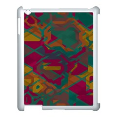 Geometric Shapes In Retro Colors			apple Ipad 3/4 Case (white) by LalyLauraFLM