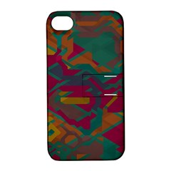 Geometric Shapes In Retro Colorsapple Iphone 4/4s Hardshell Case With Stand by LalyLauraFLM