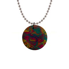 Geometric Shapes In Retro Colors1  Button Necklace by LalyLauraFLM