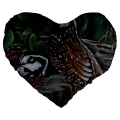 Bobwhite Quails Large 19  Premium Heart Shape Cushions by timelessartoncanvas