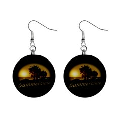 Sunset Scene At The Coast Of Montevideo Uruguay Mini Button Earrings by dflcprints