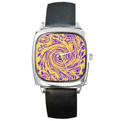 Purple And Orange Swirling Design Square Metal Watches by JDDesigns