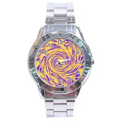 Purple And Orange Swirling Design Stainless Steel Men s Watch by JDDesigns