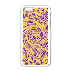 Purple And Orange Swirling Design Apple Iphone 6/6s White Enamel Case by JDDesigns