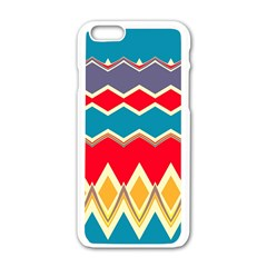 Chevrons And Rhombusapple Iphone 6/6s White Enamel Case by LalyLauraFLM