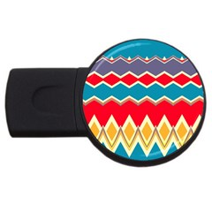 Chevrons And Rhombus			usb Flash Drive Round (2 Gb) by LalyLauraFLM