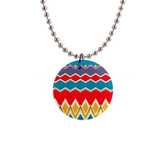 Chevrons And Rhombus			1  Button Necklace by LalyLauraFLM